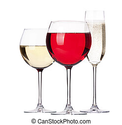 glass of white and red wine with champagne set isolated on a...