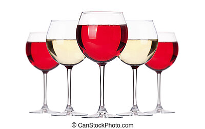 glass of white and red wine set isolated on a white...