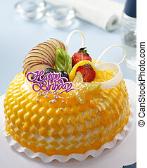 fruits cake - birthday cake with fruits and chocolate...