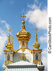 Golden cupola in Summer Gardens (Peterhof, Russia)