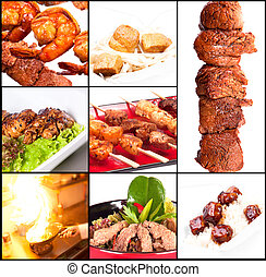 Collection of different meat dishes