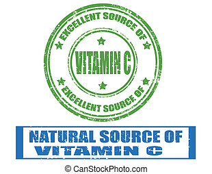 Vitamin C - Set of grunge rubber stamp with text Vitamin C...