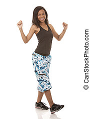 woman exercising zumba - pretty woman exercisig zumba on...