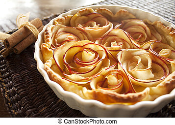 Apple pie. Roses made of apples.