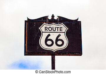 Route 66 Road Sign - Weathered and Worn Route 66 Road Sign
