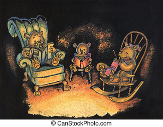 Bear Family sitting together Illustration - Ink and...