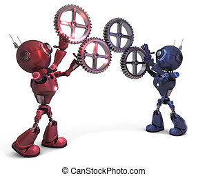 Androids and gears - 3D Render of Androids and gears