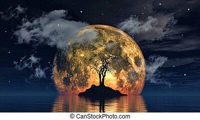 Moon and spooky tree - 3D render of a spooky tree against a...
