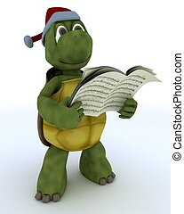 tortoise singing christmas carols - 3D Render of a tortoise...