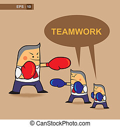 teamwork business fighter - vector business cartoon fighter...