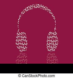 headphones - abstract headphones on purple background