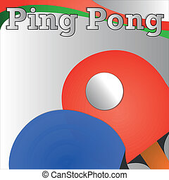 ping pong racket and ball on gradient gray background