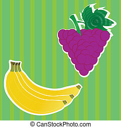 blackberry and banana - banana and blackberry fruits on...