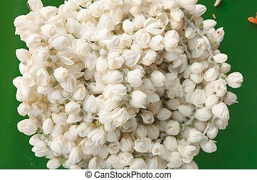 White Jasmine Flowers tied in garland for offering in temple