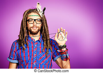 hippy generation - Portrait of a hippie young man in...