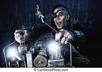 crazy scientist - Portrait of a steampunk man over grunge...