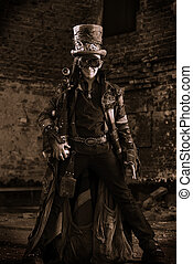 historical hero - Portrait of a steampunk man in the ruins.