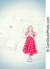 standing alone - Cute little girl standing in a white room...