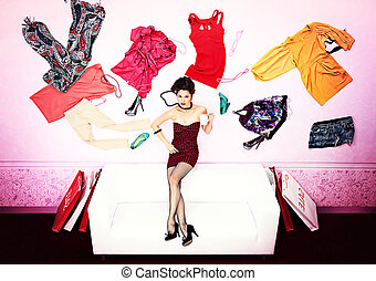 freak things - Charming fashionable woman flying in the...