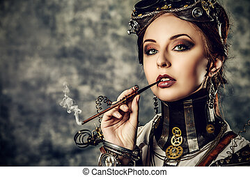 smoking - Portrait of a beautiful steampunk woman over...