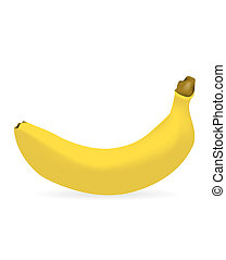 banana with drop shadow - Vector - Bright yellow ripe banana...