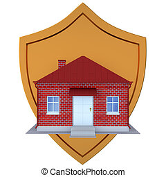 Guard of home concept. 3d illustration on a white background