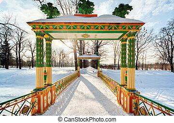 China bridge - Russian winter.China bidge in the Alexander...