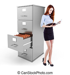 business woman holding a file standing near a 3d file...