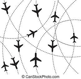 avión, destino, rutas