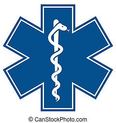 Emergency star - medical symbol caduceus snake with stick
