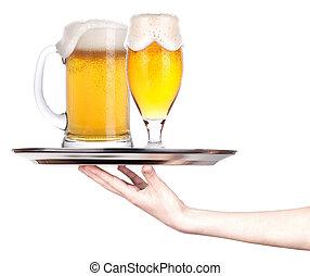bière,  concept, plateau, entiers,  Célébration