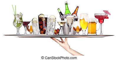 tray full of alcohol. celebration concept - hand with tray...