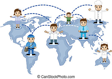 People Network on World Map Vector