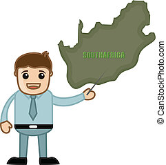 Man Showing South Africa Map