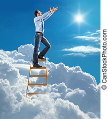 businessman pulls hands to the sky - young man in shirt and...
