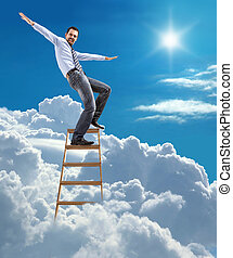 businessman standing at the ladder - young man in shirt and...