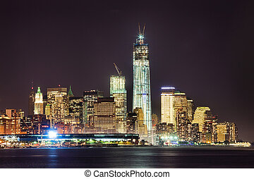 New York City Downtown w the Freedom tower - New York City...