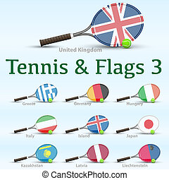 Tennis rackets and flags - Tennis racket painted in the...
