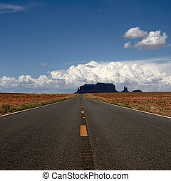 Road with no end in Monument Valley National Park, Arizona