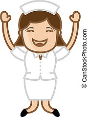 Happy Nurse Jumping - Drawing Art of Cartoon Pretty Happy...