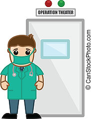 Doctor Outside the Operation Room - Drawing Art of Doctor...