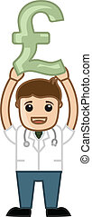 Doctor Holding Pound Symbol - Drawing Art of Cartoon Young...