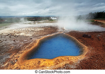 Geothermal activity near Geysir in Iceland - Volcanism in...