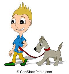 Cartoon boy with a dog