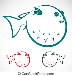 Vector image of an puffer on white background
