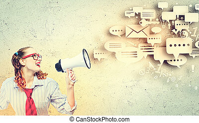 Funny looking woman with megaphone - Funny looking woman...