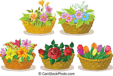 Baskets with flowers set - Wattled basket with flowers:...