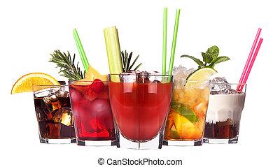 alcoholic cocktail set isolated on white background