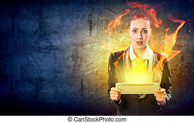 Young business woman with ipad - Image of astonished...