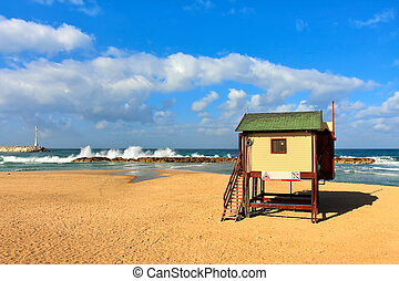 Lifeguard tower on the beach on Mediterranean sea.